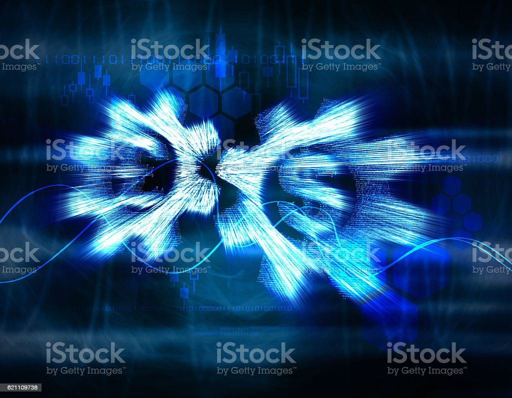 Glowing gear, currency symbol stock photo
