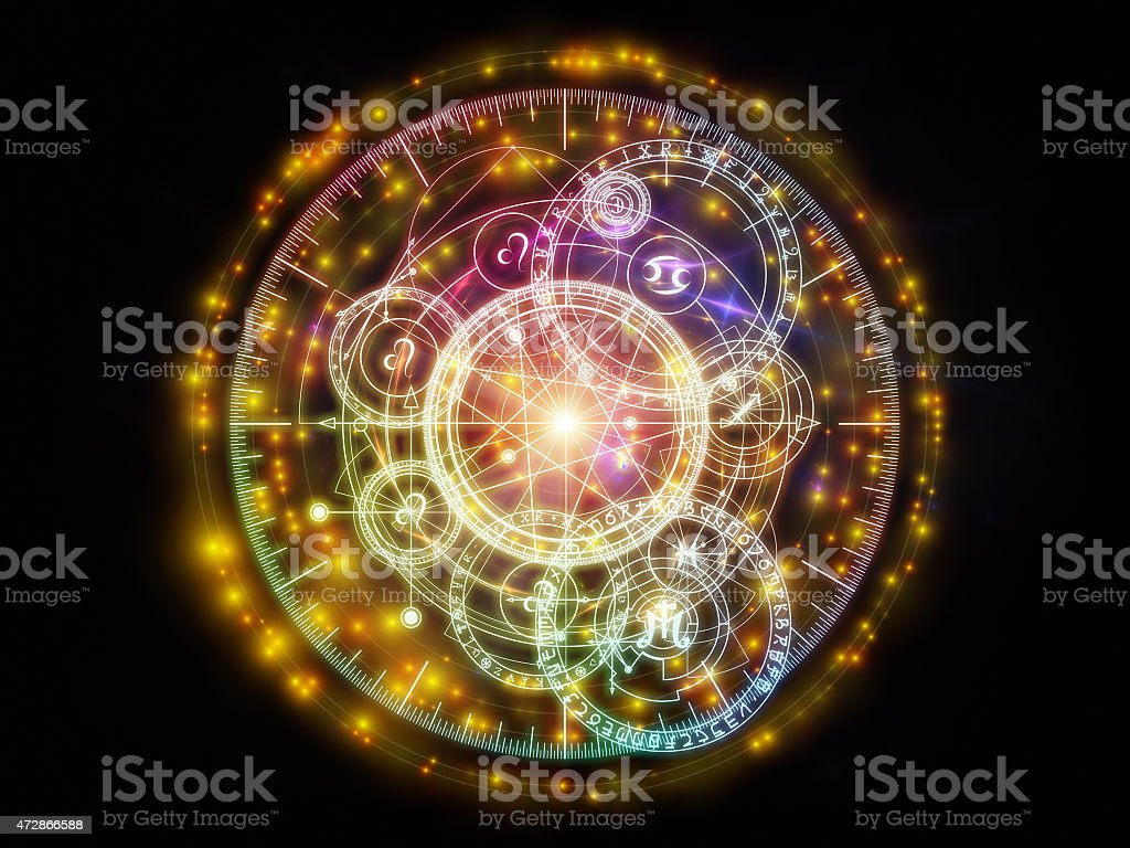 Glowing geometric shapes of circles, lines and glyphic signs stock photo