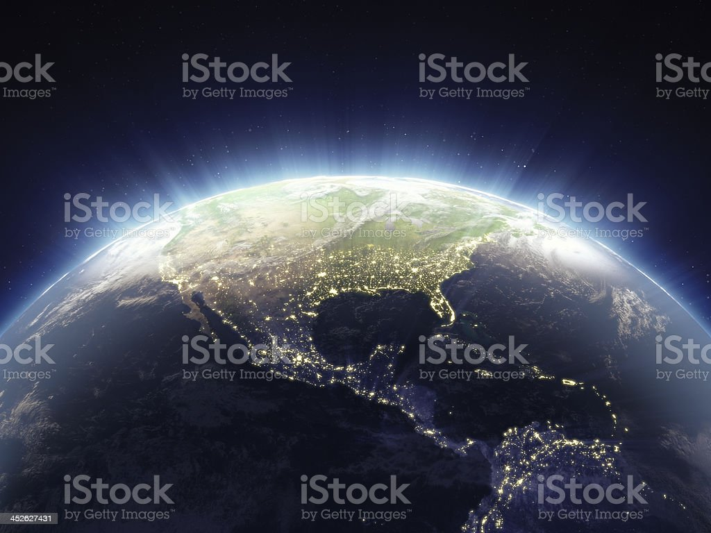 Glowing Globe Viewing From Space stock photo