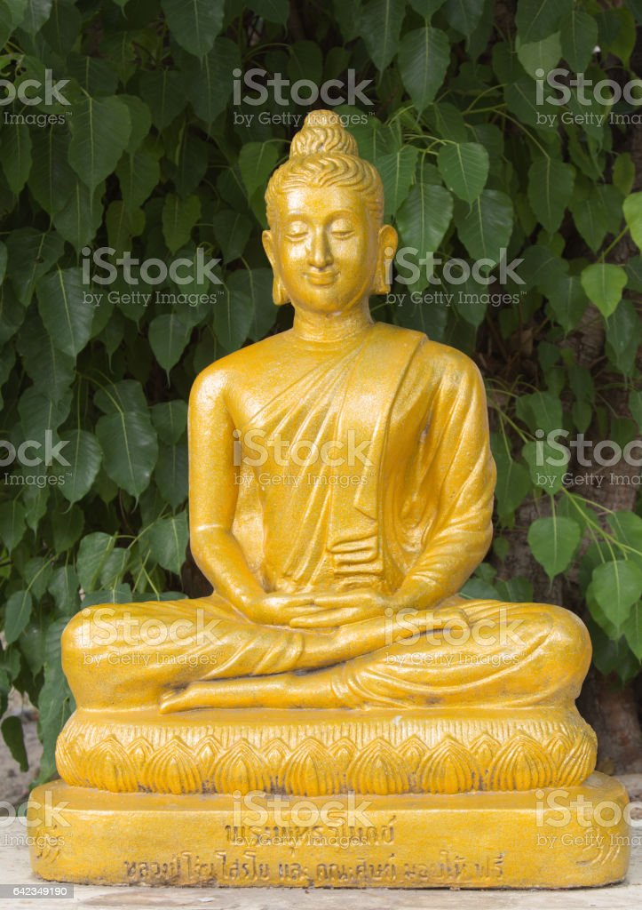 Glowing golden Buddha sitting in front of Bodhi Tree. stock photo