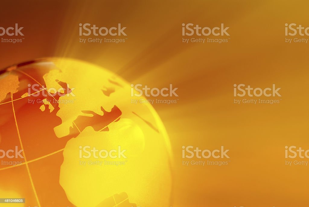 Glowing golden globe stock photo