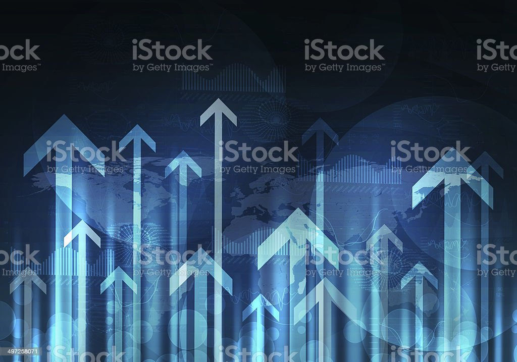 Glowing graphs and arrows. Hi-tech background stock photo