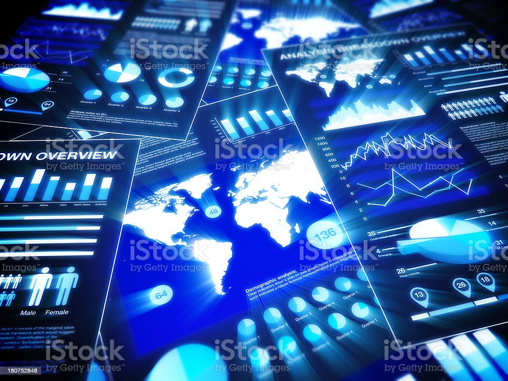 Glowing graphs and charts stock photo