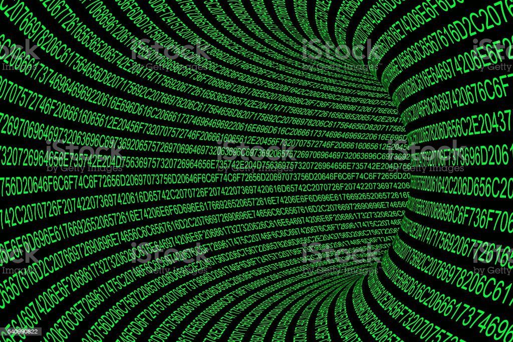 Glowing Green Hexadecimal Code Tunnel Abstract Background stock photo
