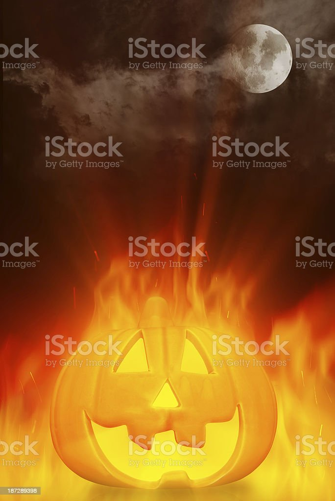 Glowing halloween Pumpkin royalty-free stock photo
