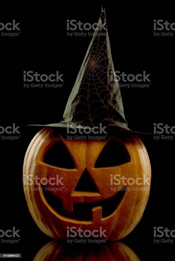 Glowing Halloween pumpkin stock photo