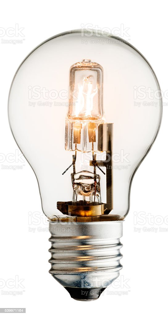 Glowing halogen light bulb stock photo