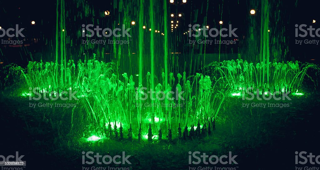 Glowing holiday fountain stock photo
