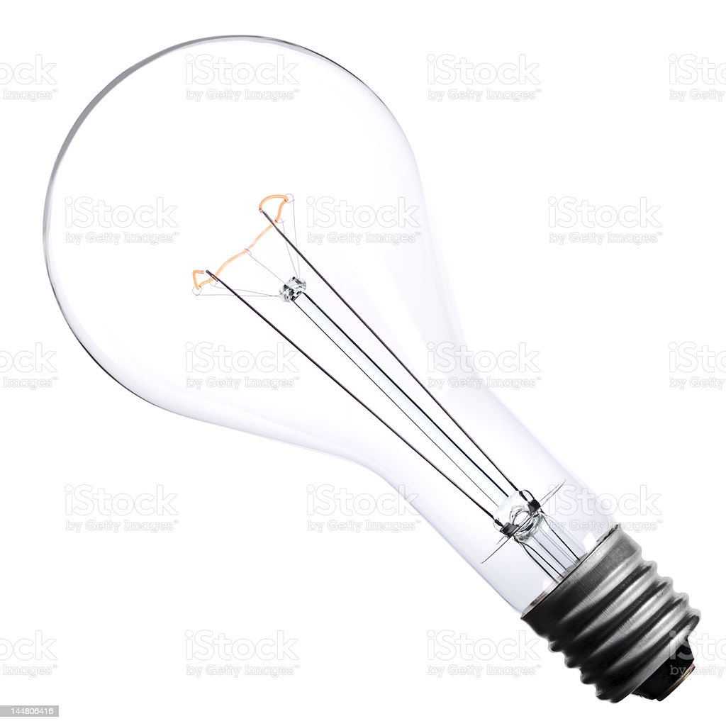 Glowing lamp isolated on white royalty-free stock photo
