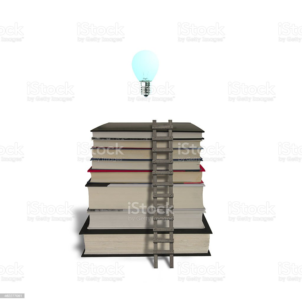 Glowing lamp on top of stack books with wooden ladder royalty-free stock photo
