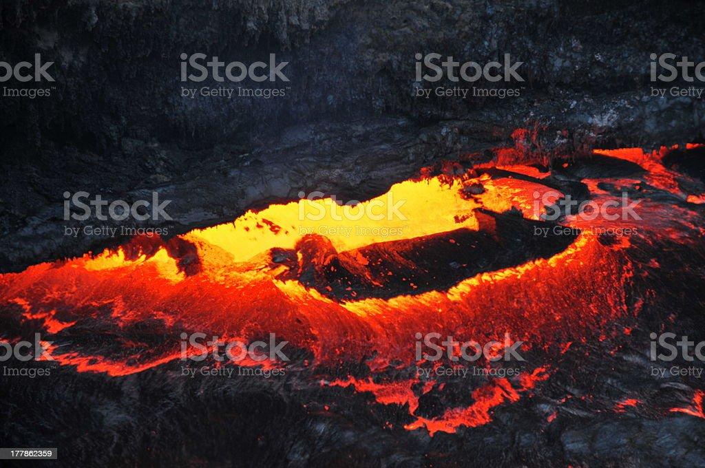 Glowing lava-lake of Erta Ale stock photo
