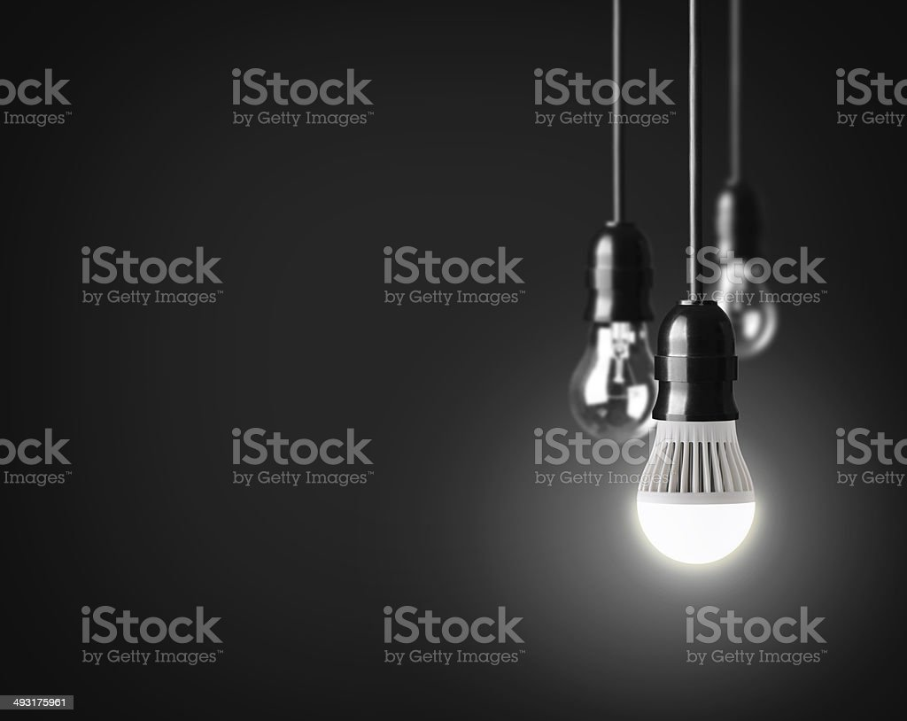 glowing led bulb stock photo