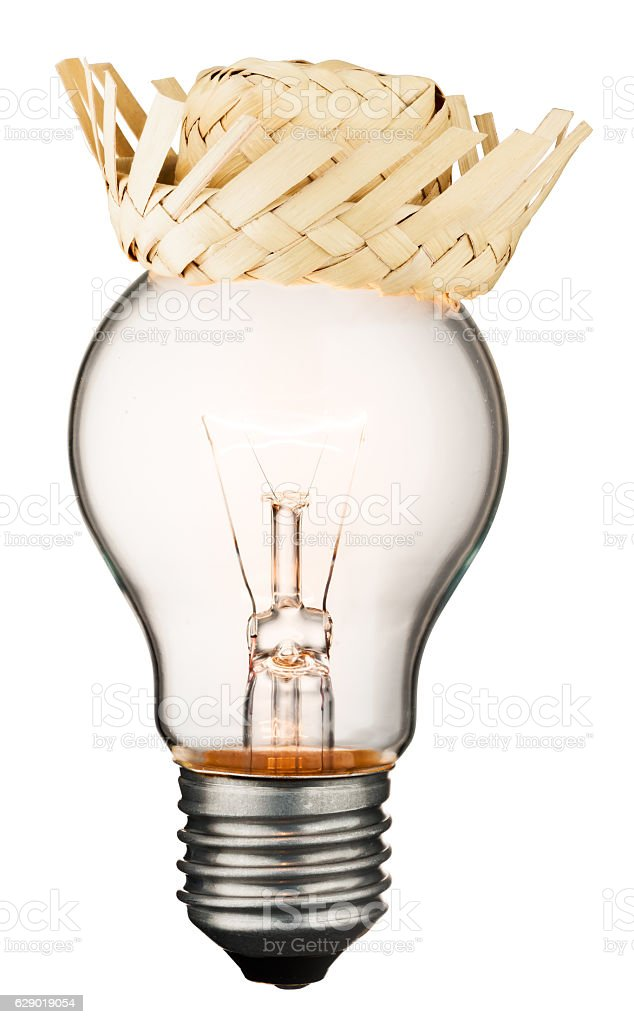Glowing light bulb isolated on white background stock photo