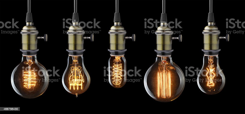 glowing light bulbs stock photo