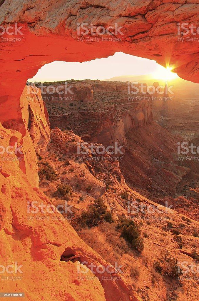 Glowing Mesa Arch at sunrise, Canyonlands National Park, Utah, U stock photo