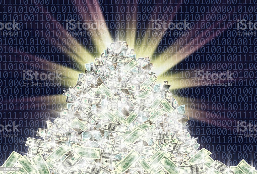glowing money and binary code stock photo