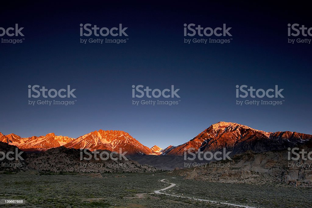 Glowing mountains II stock photo