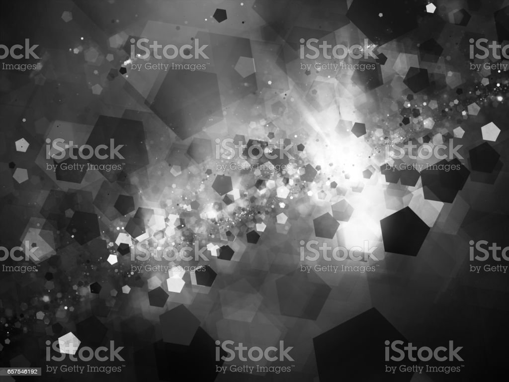 Glowing nebula in deep space with pentagon particles intensity map stock photo