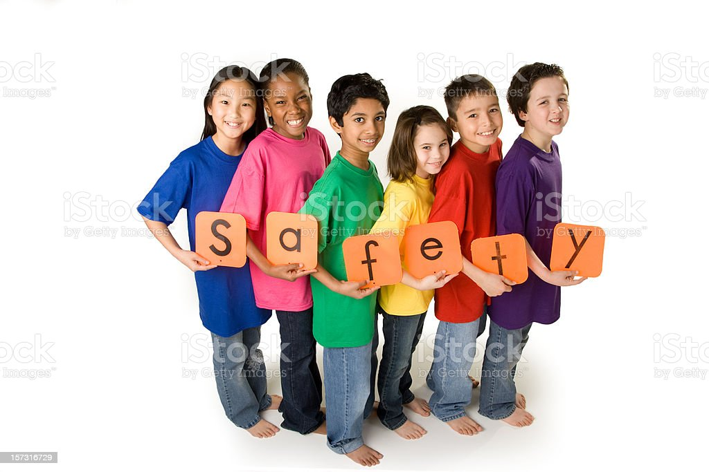 Glowing Neon Safety Sign stock photo