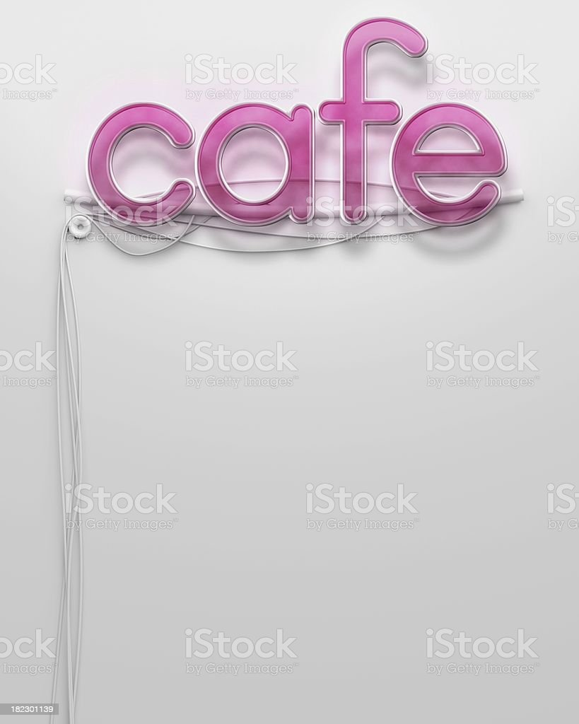 Glowing neon signboard with Cafe word, copyspace royalty-free stock photo