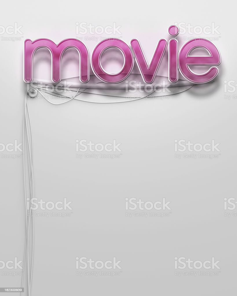 Glowing neon signboard with Movie word, copyspace royalty-free stock photo