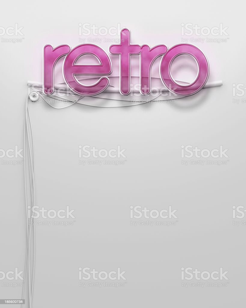 Glowing neon signboard with Retro word, copyspace royalty-free stock photo