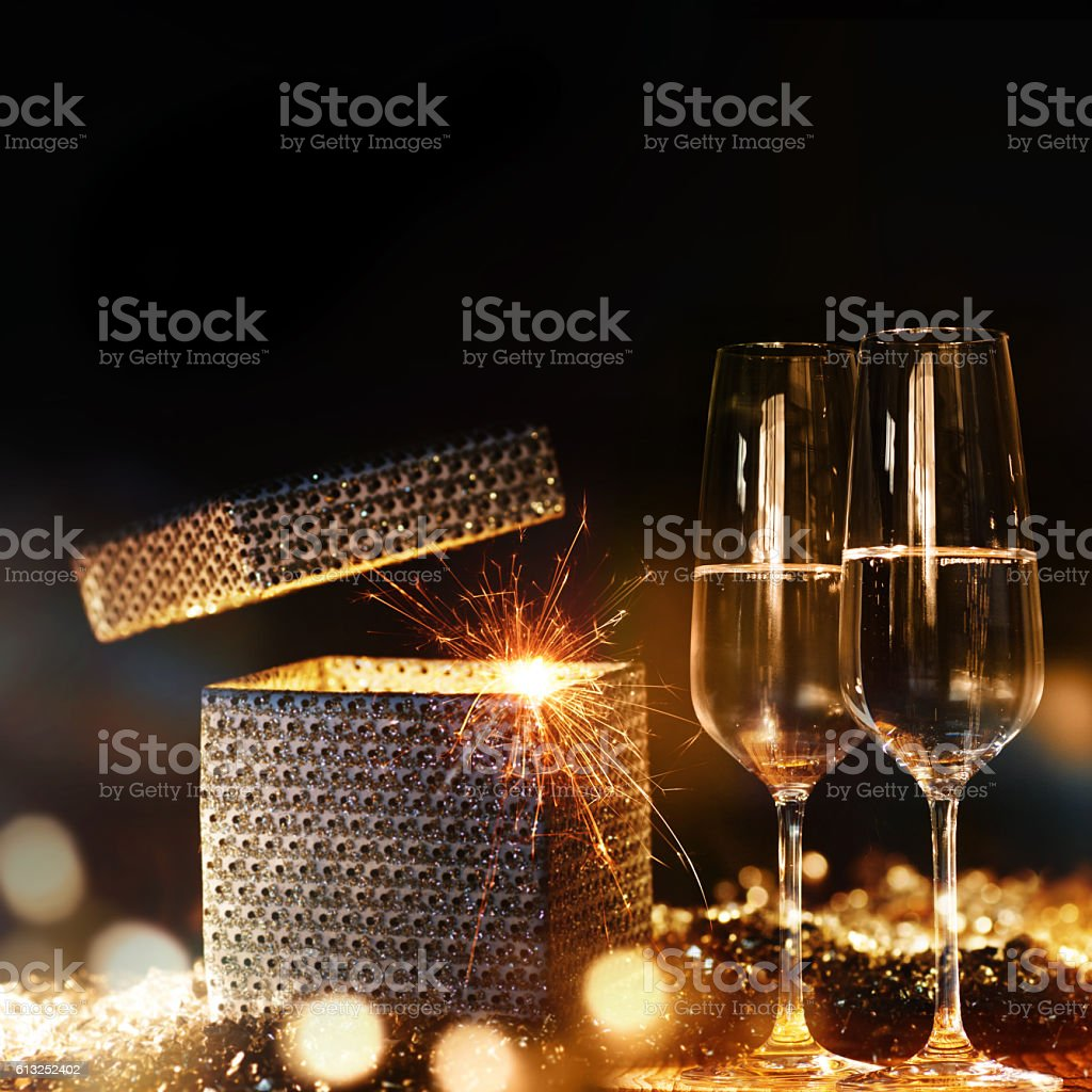 Glowing new year's eve congratulations stock photo