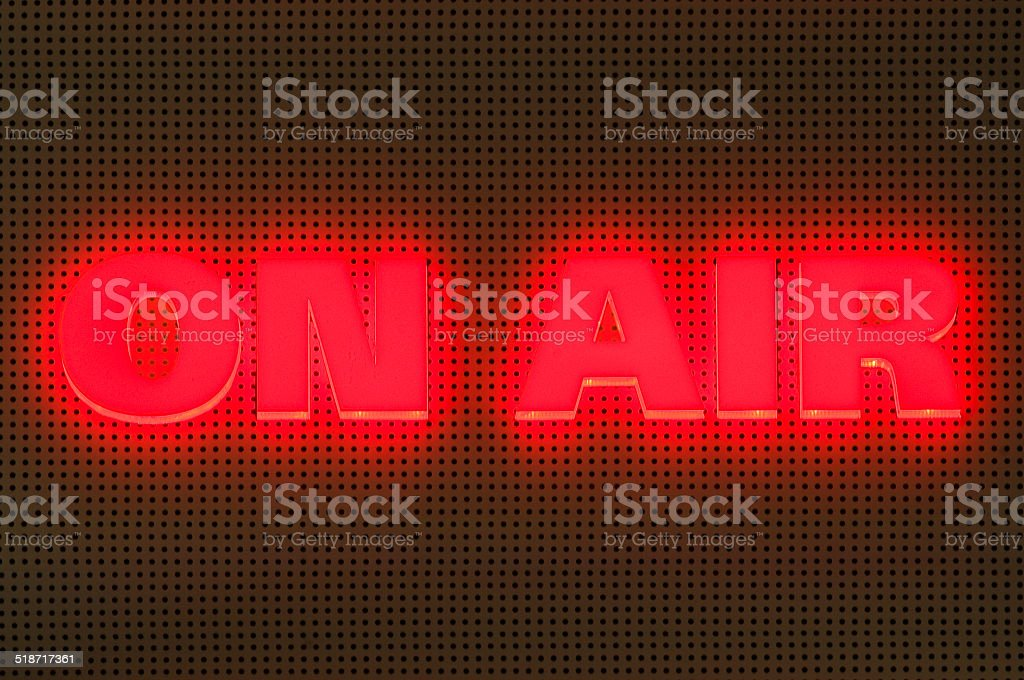 Glowing On Air display in a Studio stock photo