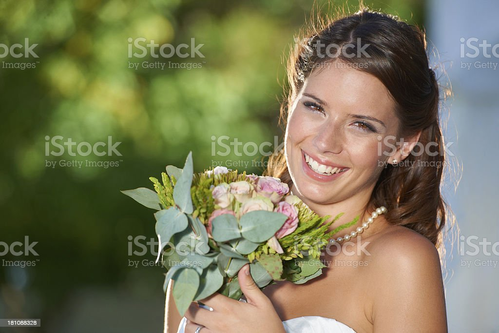 Glowing on her wedding day royalty-free stock photo
