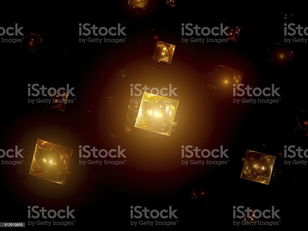 Glowing orange squares in space royalty-free stock photo