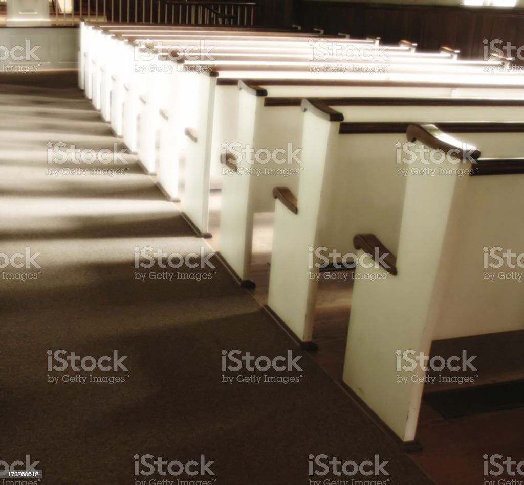 Glowing Pews stock photo