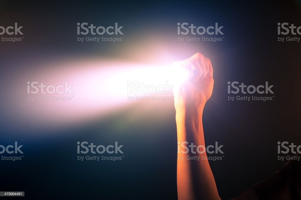 glowing pocket torch light stock photo