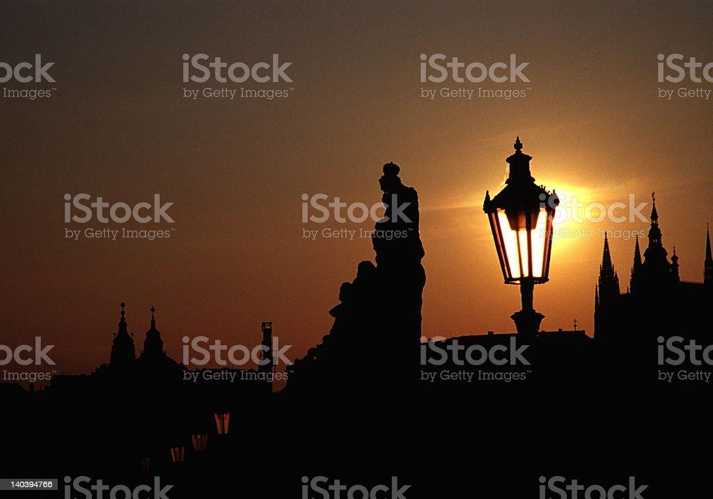 Glowing Prague stock photo