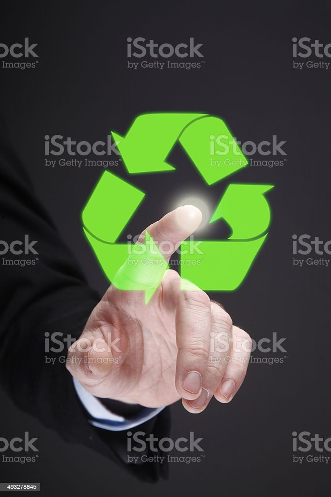Glowing Recycling Symbol royalty-free stock photo