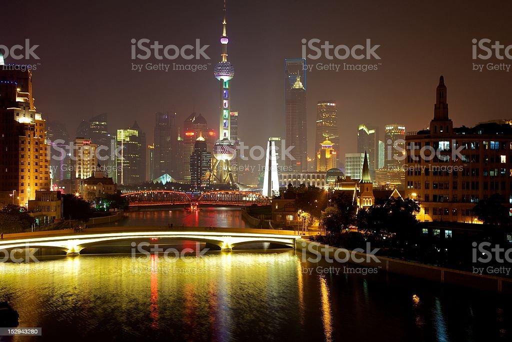 Glowing Shanghai stock photo