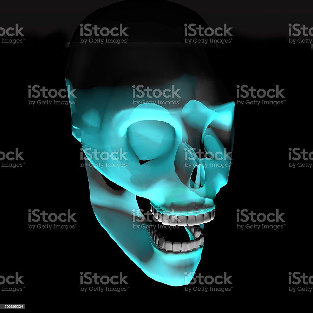 glowing skull stock photo