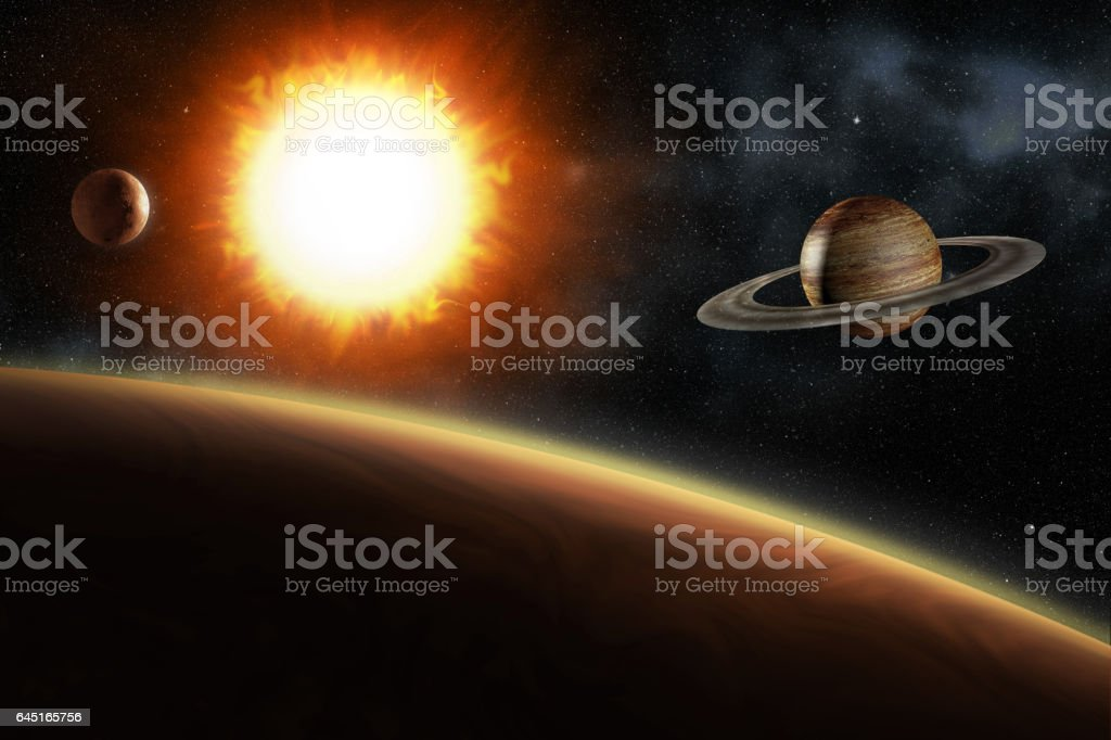 glowing sun and solar system planets, 3d illustration vector art illustration