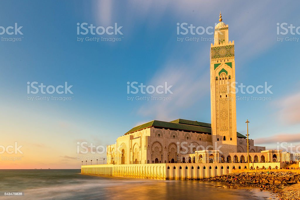 Glowing sunset of the Hassan II Mosque stock photo