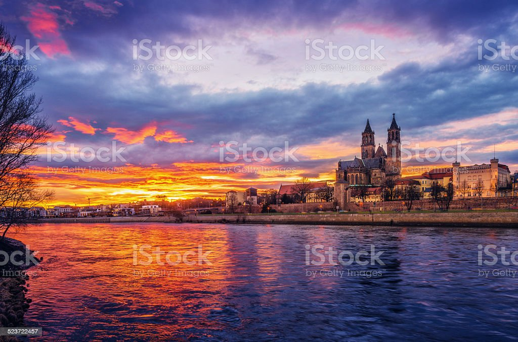 Glowing Sunset over Magdeburg stock photo