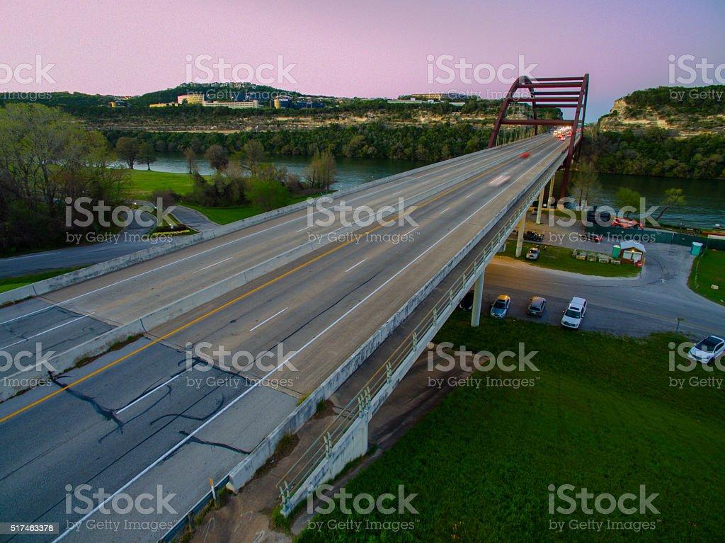 Glowing Sunset Over Pennybacker Bridge Austin Texas Landmark Attraction stock photo
