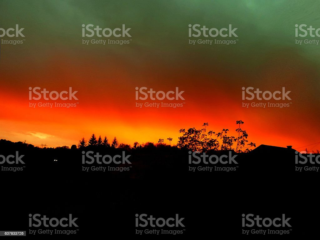 glowing sunset stock photo