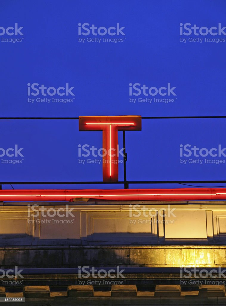 Glowing T stock photo