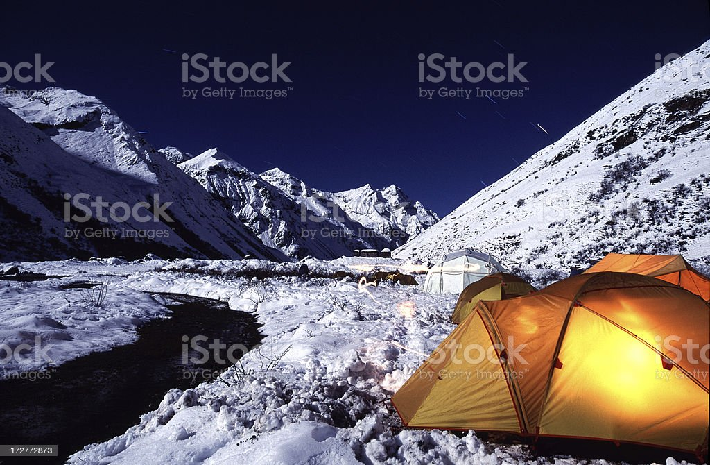 Glowing Tent lit by a full moon. Paro Valley, Bhutan royalty-free stock photo