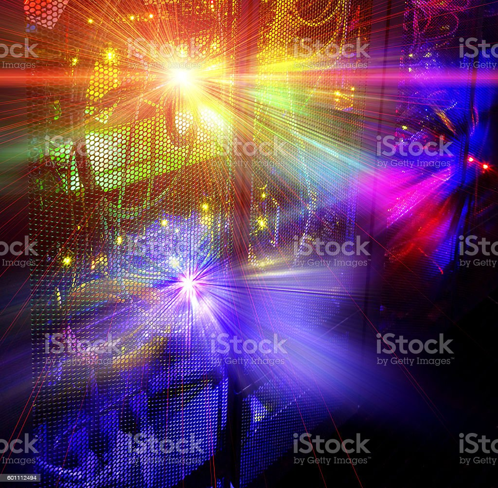glowing thread cables in disk storage supercomputer in data center stock photo