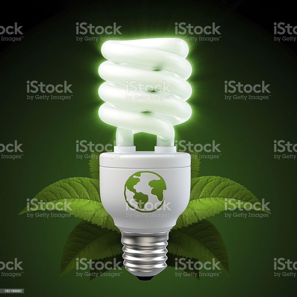 glowing white energy saving light bulb stock photo