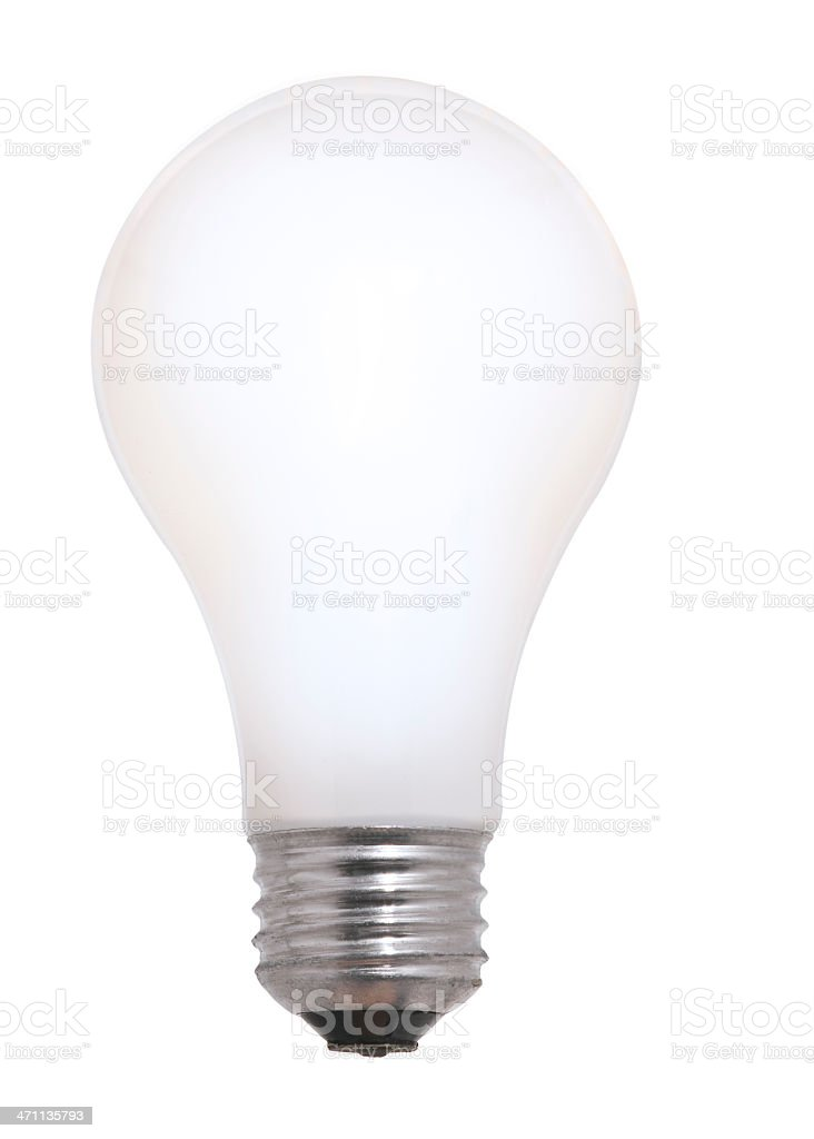 Glowing White Frosted Incandescent Light Bulb. Isolated with Clipping Path. royalty-free stock photo