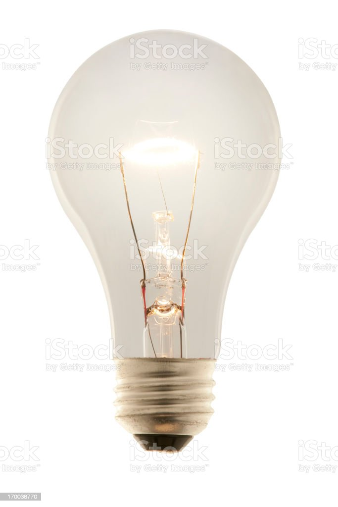 Glowing White Incandescent Light Bulb.  Isolated with Clipping Path. royalty-free stock photo