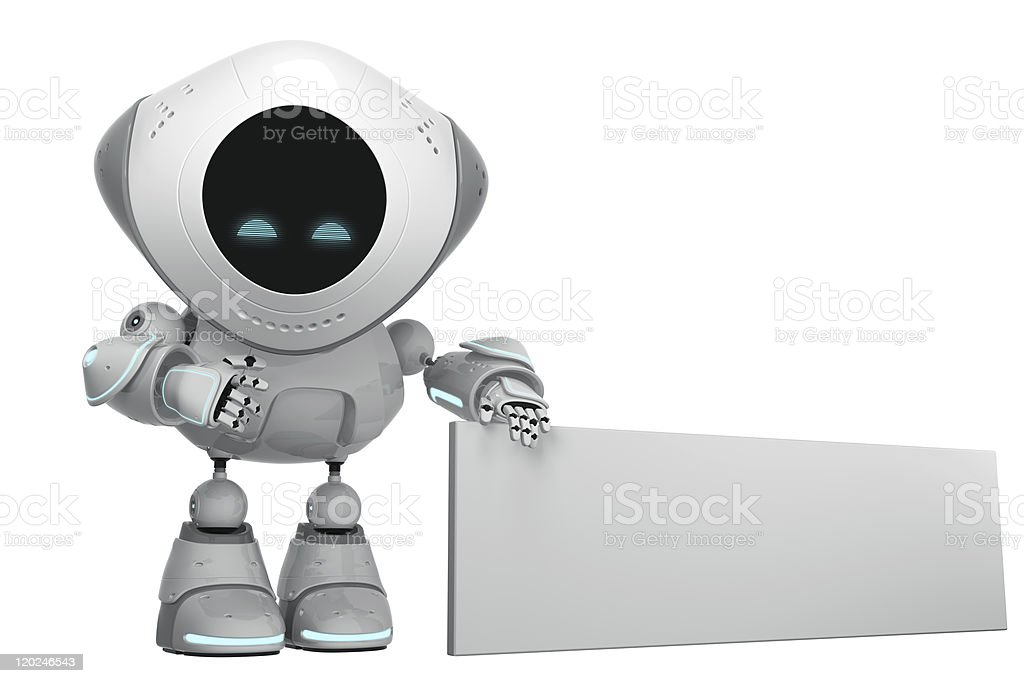 Glowing white robotic promoter royalty-free stock photo