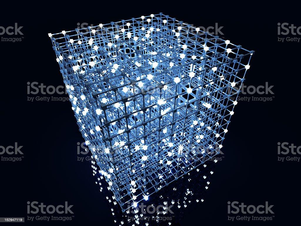 Glowing white spots illuminate an intricate construction stock photo