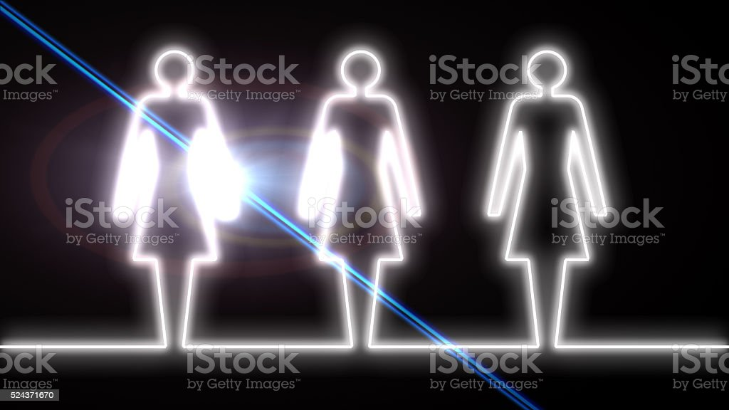 Glowing women outlines. stock photo